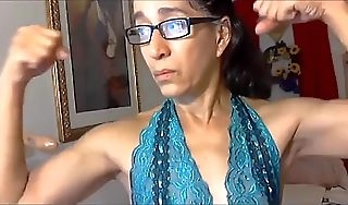 Latina granny flexex say no to calves and biceps