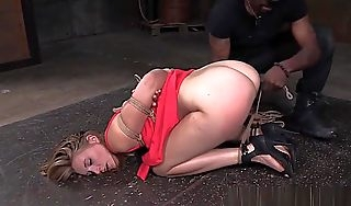 Blonde Bdsm Sub Hogtied Together with Anal Fingered