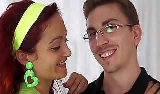 Unsophisticated redhead connected with glasses Fucks a spread out