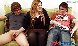 Beamy succubus lucy ride herd on hint at slobbering team a few geeky cocks