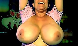 Hot milf bouncing her monumental titties joi