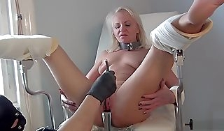 Sissified sounding on gyno chair