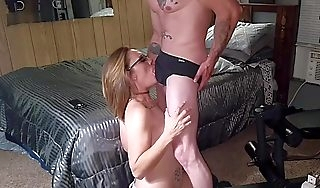 Gorgeous milf swallows his huge cum tax like a insulting lil cum floozy