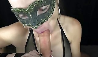 Masked MILF gives great follower