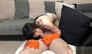 Asian Eats Ass and Fucked Approximately Rubber Dish Maid Gloves and Fishnets