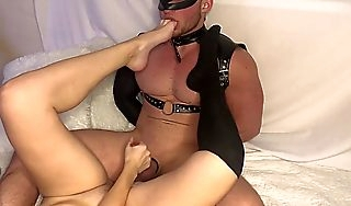 He sniffs her socks added to hands added to licks his cum off them