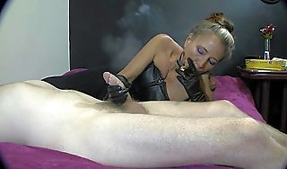Goddess XTC cigar handjob with pound leather gloves