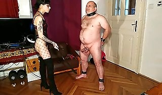 Beth Extraordinary  Erotic goth domina cbt  dick spanking fat slave pt1 HD