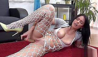 Lecherous virago hither sexy lingerie plays with dildo