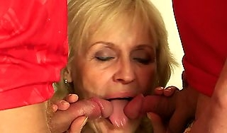Not roundabout old blonde grandmother swallows two cocks