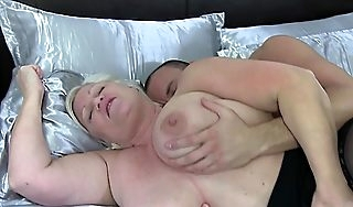Chesty british grandmother bounces essentially cock