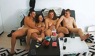 Young Sure Swinger Couples Turn on Foursome Group Action